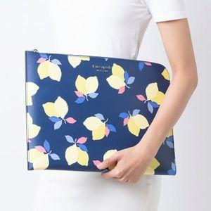 Kate Spade Cameron Lemon L-zip Laptop Case Blue